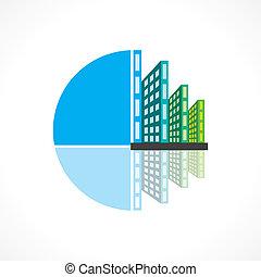 Vector de iconos del edificio inmobiliario