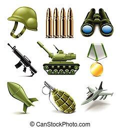 Vector de iconos del ejército fijado