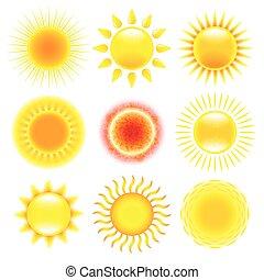 Vector de iconos del sol fijado