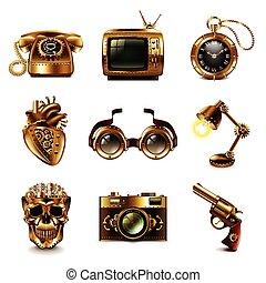 Vector de iconos Steampunk fijado