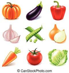 Vector de iconos vegetal fijado