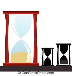 Vector de ilustración de reloj de arena con silueta negra