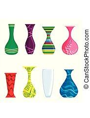 Vector de jarrones coloridos aislado en fondo blanco. Vasos modernos para las flores. Ilustración de vectores