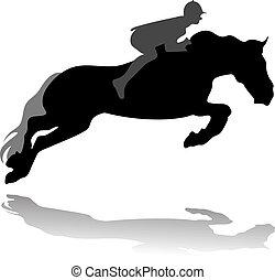 Vector de jinete con caballo saltarín