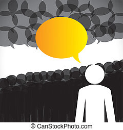 vector de liderazgo - líder discusión de seguidores