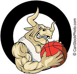 Vector de logo de baloncesto de toros