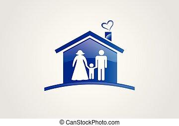 Vector de logo de familia y casa