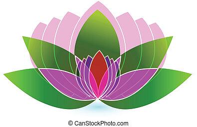 Vector de logo de icono de flor de Lotus
