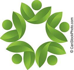 vector de logo de trabajo de equipo de la naturaleza saludable