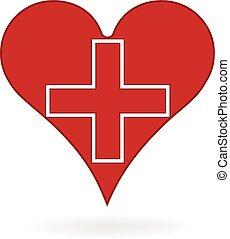 Vector de logo del corazón médico