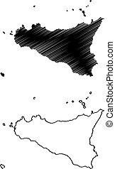 Vector de mapa de Sicilia
