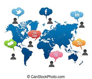 Vector de mapas del mundo de los medios sociales