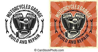 Vector de motor de motocicleta emblema negro y vintage
