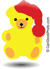 Vector de oso lindo en rojo