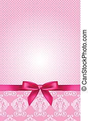 Vector de papel rosa con arco