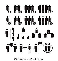 Vector de personas, equipo de iconos