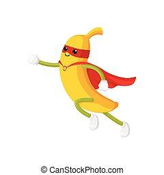 Vector de plátano plano personaje en capa, máscara elegante