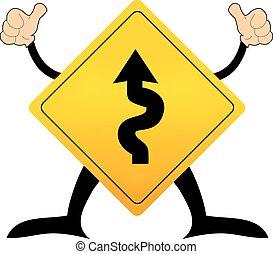 Vector de señales de tráfico con carretera de cuerda