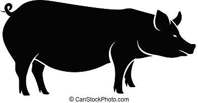 Vector de silueta de cerdo