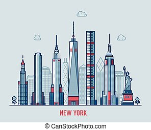 Vector de silueta de la ciudad de Nueva York.