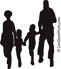 Vector de siluetas de familia feliz