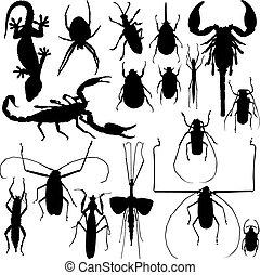 Vector de siluetas de insectos