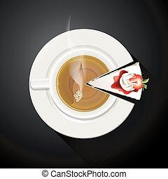 Vector de tazas de té y rebanadas de pastel