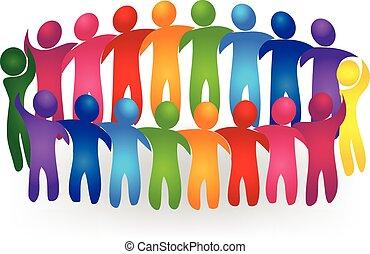 Vector de trabajo en equipo conociendo gente