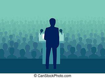 Vector de un hombre de negocios o político hablando con una gran multitud de personas