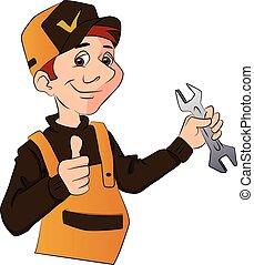Vector de un manitas sosteniendo una llave y dando pulgares hacia arriba.