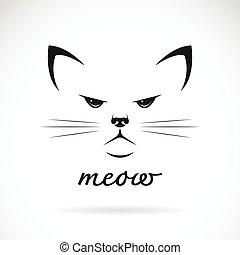 Vector de una cara de gato en el fondo blanco.