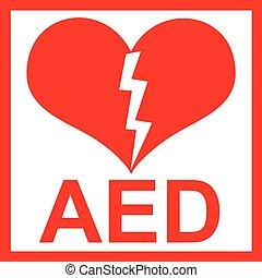 Vector de una etiqueta roja AED