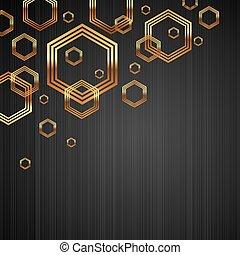 Vector de vector oscuro de textura de metal con formas brillantes y lujosas de hexagon