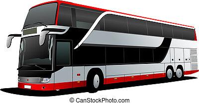 vector, decker, coach., doble, rojo, bus., ilustración, turista