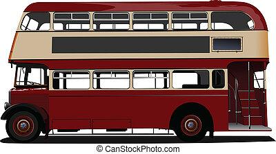 vector, decker, doble, rojo, enfermo, bus.