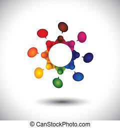 Vector del concepto de niños hablando o reunión de empleados en Cir