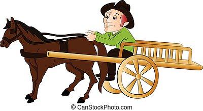 Vector del hombre viajando en un carro de caballos.