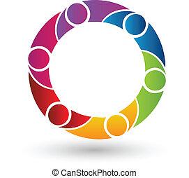 Vector del logotipo de la gente del trabajo en equipo