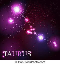 Vector del signo taurus zodiaco de las hermosas estrellas brillantes en el fondo del cielo cósmico