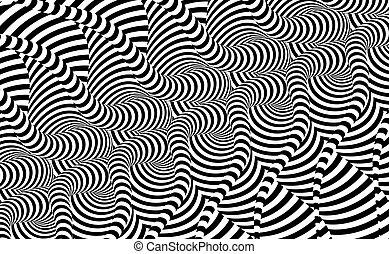 vector, design., illusion., patrón, blanco, negro, resumen, 3d, geométrico, óptico, illustration., fondo.