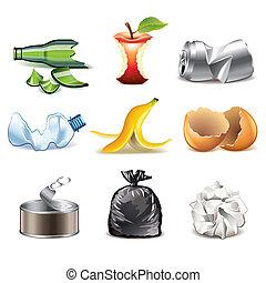 Vector detallado de iconos de basura fijado