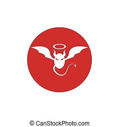 vector, diablo, logotipo, ángel