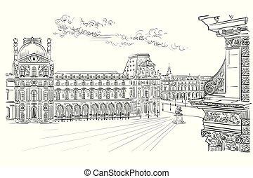 Vector dibujando a mano el París 10