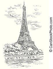 Vector dibujando a mano París 1