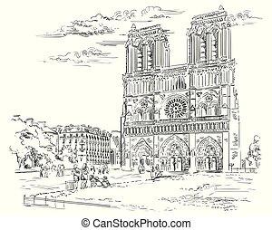Vector dibujando a mano París 2
