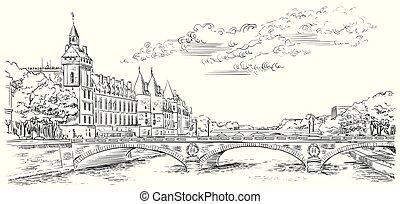 Vector dibujando a mano París 5