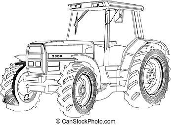Vector dibujando tractor