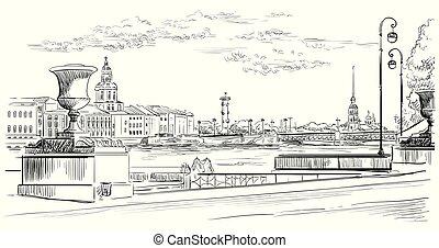 vector, dibujo, mano, 10, petersburg, c/