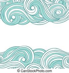 Vector diseño abstracto sin costura mano dibujado fondo con ondas y nubes con un lugar para su texto. Diseño de tarjetas.