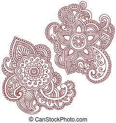 vector, diseño, flor, doodles, alheña